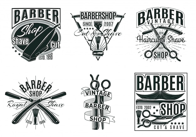 Vintage hair saloon labels set