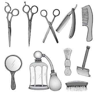 Vintage hairdresser tools set