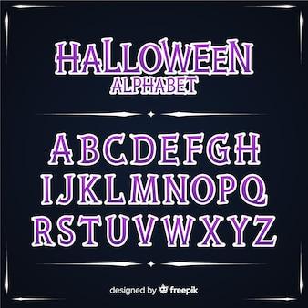 Vintage halloween alphabet concept