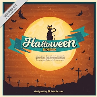 Vintage halloween background of cemetery