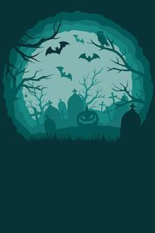 묘지에 박쥐 무서운 호박 거미 마른 나무와 빈티지 할로윈 배경