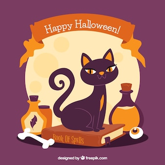 Vintage halloween background with black cat and potions