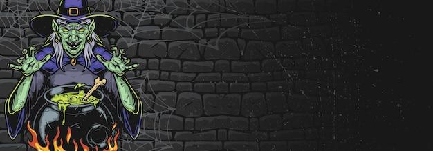 어두운 벽 배경 벡터 일러스트 레이 션에 마법의 묘약과 가마솥 근처에 유령 마녀 서와 빈티지 할로윈 화려한 배너 배경