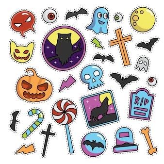 Vintage halloween fashion patch illustration