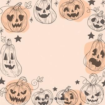 Vintage halloween frame with pumpkins