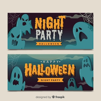 Vintage halloween ghost banners