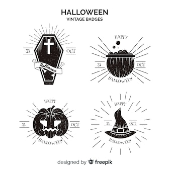 Vintage halloween labels collection in black and white