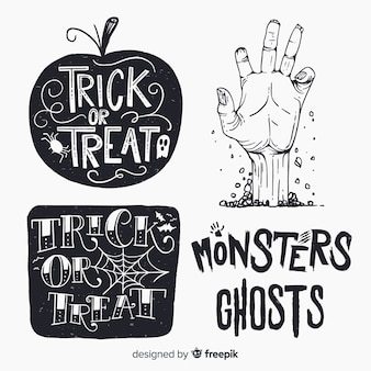 Vintage halloween labels set