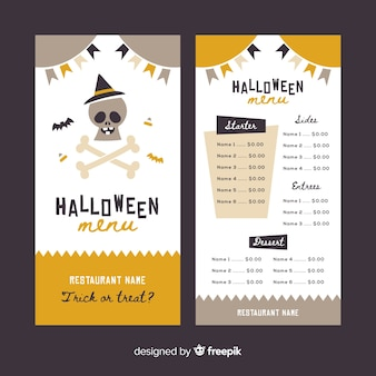 Vintage halloween menu template