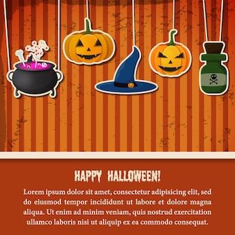 Vintage halloween party festive template with paper hanging pumpkins witch hat cauldron potion bottle