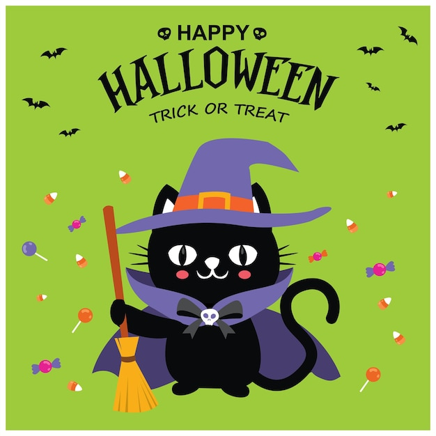 ベクトル猫のキャラクターとヴィンテージのハロウィーンのポスターデザイン