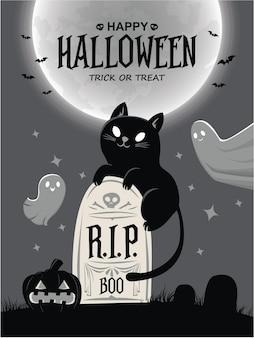 ベクトル猫ゴーストジャックoランタンキャラクターとヴィンテージハロウィーンポスターデザイン