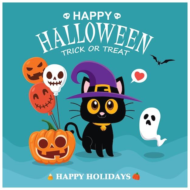 벡터 고양이 유령 호박 캐릭터와 함께 빈티지 할로윈 포스터 디자인