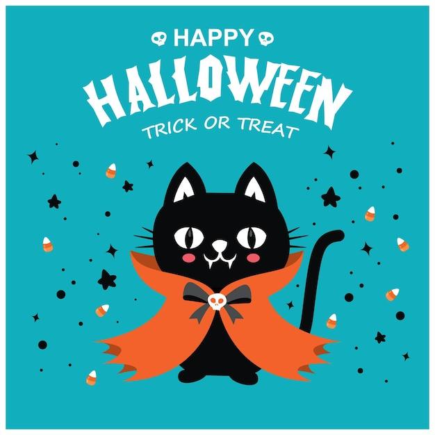 ベクトル猫吸血鬼のキャラクターとヴィンテージハロウィーンのポスターデザイン