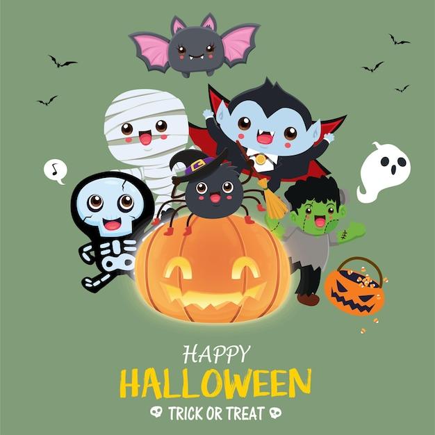 Vintage halloween poster design with vector mummy skeleton bat vampire spider demon ghost