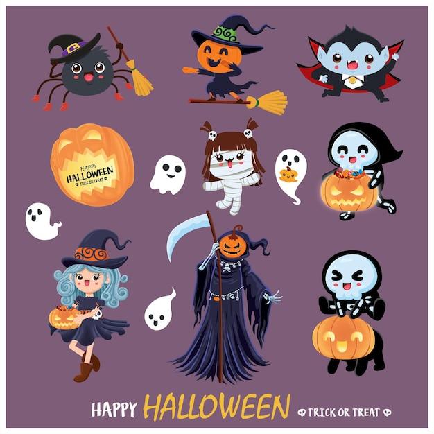 Vintage halloween poster design with vector mummy witch spider skeleton reaper vampire mummy