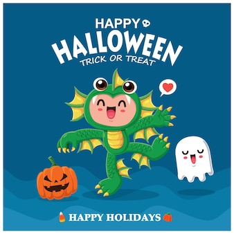 Винтажный дизайн плаката хэллоуина с характером морского существа вектора
