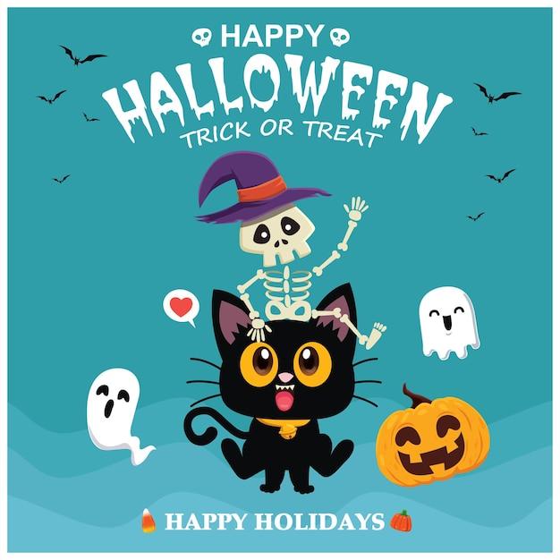 벡터 해골 고양이 유령 호박 캐릭터와 함께 빈티지 할로윈 포스터 디자인