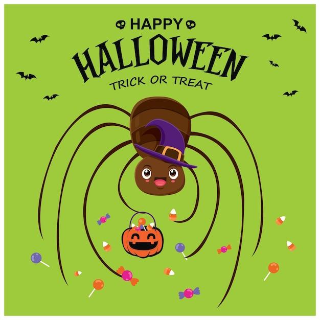 벡터 거미 캐릭터와 함께 빈티지 할로윈 포스터 디자인