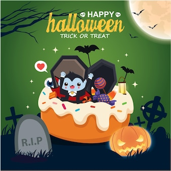 Vintage halloween poster design with vector vampire ghost character