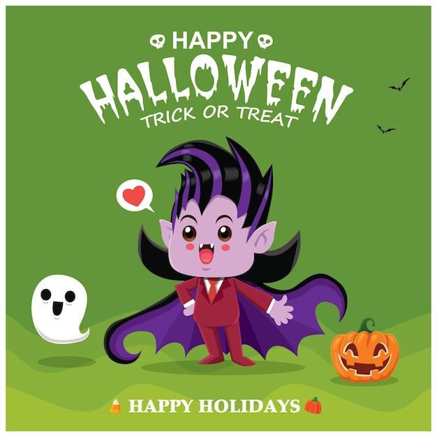 Винтажный дизайн плаката хэллоуина с векторным персонажем тыквы-призрака вампира