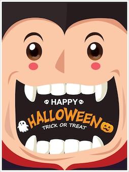 ベクトル吸血鬼ゴーストカボチャのキャラクターとヴィンテージハロウィーンのポスターデザイン