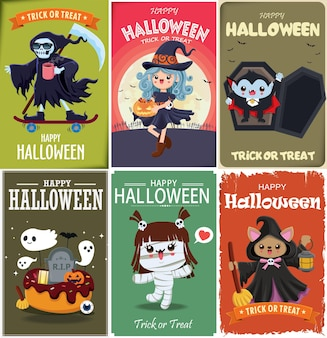 Vintage halloween poster design with vector vampire witch reaper mummy ghost character