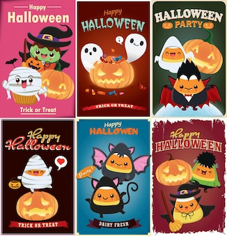 Vintage halloween poster design with vector witch bat cat vampire spider character