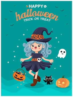 Vintage halloween poster design with vector witch cat ghost character