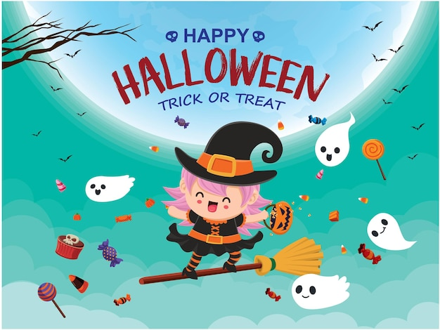 Vintage halloween poster design with vector witch ghost character