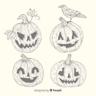 Vintage halloween pumpkin collection in pencil