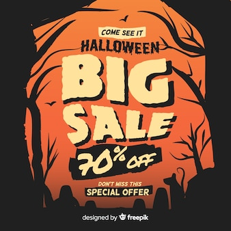 Vintage halloween sale between trees