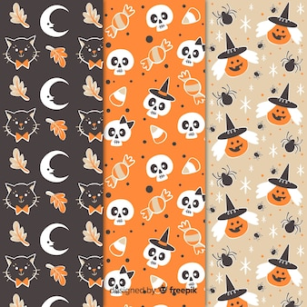 Vintage halloween seamless pattern collection