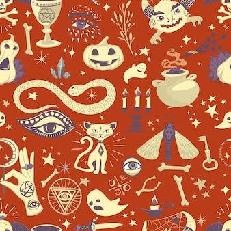 Vintage halloween seamless pattern