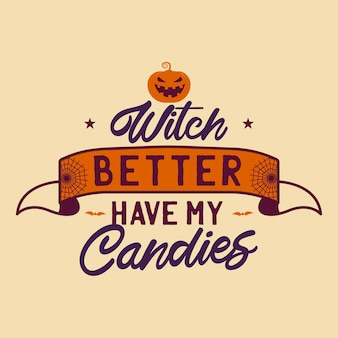 Vintage halloween typography badge graphics with pumpkin, ribbon and quote text