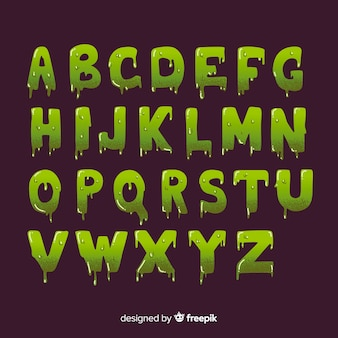 Vintage halloween with slime alphabet