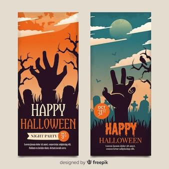 Vintage halloween zombie hand banners