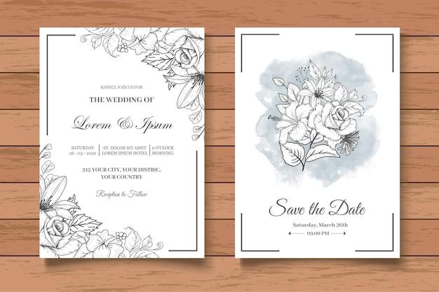 Vintage hand drawing floral wedding card set