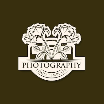 Vintage hand drawing photography logo template