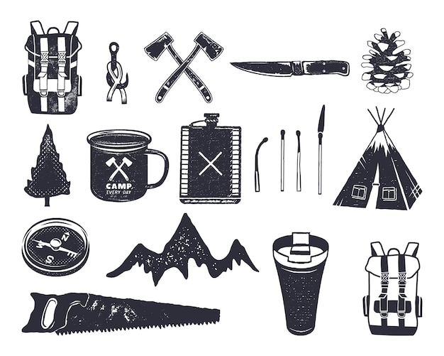 Vintage hand drawn adventure hiking, camping shapes of backpack, saw, mountain, matches, tree, knife, thermo cup and others. retro monochrome design. can be used for t shirts, prints. stock vector