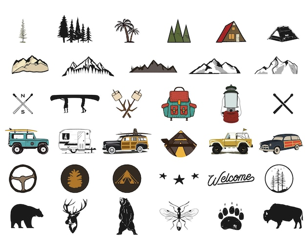 Vintage hand drawn adventure symbols, hiking, camping shapes of backpack, wild animals, canoe, surf car, backpack. retro monochrome design. for t shirts, prints. stock silhouette icons isolated.