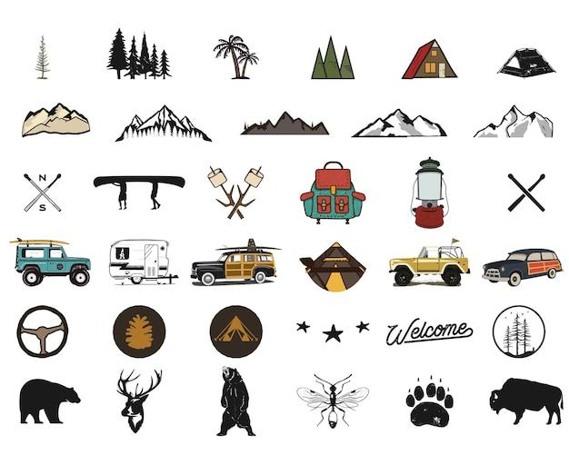 Винтажные рисованной символы приключений, походы, походные формы рюкзака, дикие животные, каноэ, автомобиль для серфинга, рюкзак. ретро монохромный дизайн. для футболок принты. иконы силуэта запаса изолированы.