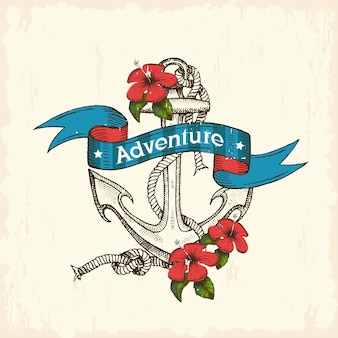 Vintage hand drawn anchor with ribbon and tropical flowers