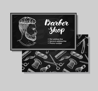 Vintage hand drawn Barber Shop business cards.