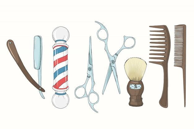 Vintage hand drawn barber shop set in sketch style.
