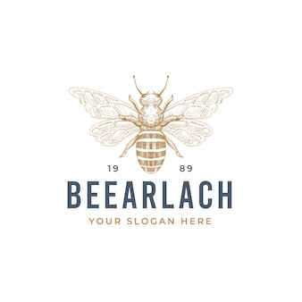 Vintage hand drawn bee logo design