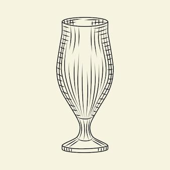 ヴィンテージ手描きのビアグラス。明るい背景に分離されたビールの空のピルスナーグラス。彫刻スタイル。メニュー、カード、ポスター、版画、パッケージングに。スケッチスタイルのベクトル図