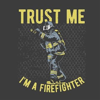 グランジ効果とスターバーストの背景を持つヴィンテージ手描きの勇敢な消防士