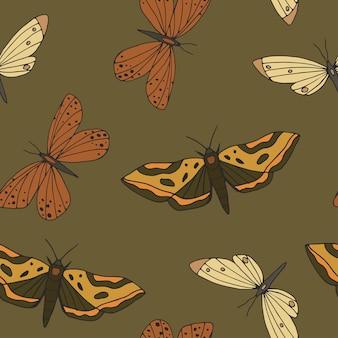 ヴィンテージ手描きの蝶と蛾のシームレスなパターン