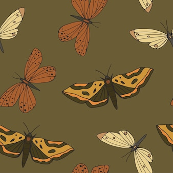 Vintage hand drawn butterflies and moths seamless pattern